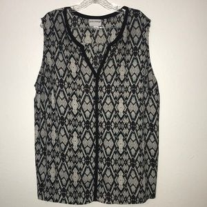 Pure Energy sleeveless blouse black white Sz 3X